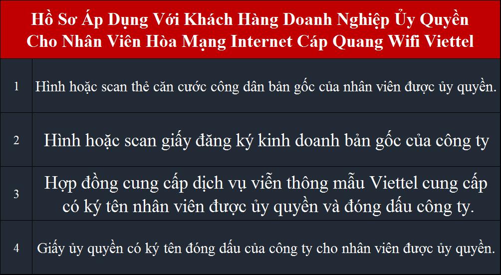 Lắp đặt internet Viettel hồ sơ áp dụng cho doanh nghiệp ủy quyền
