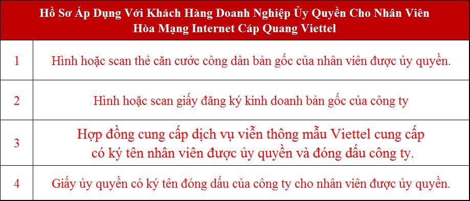 Lắp mạng Viettel Ba Vì Hà Nội Hồ sơ áp dụng với doanh nghiệp ủy quyền