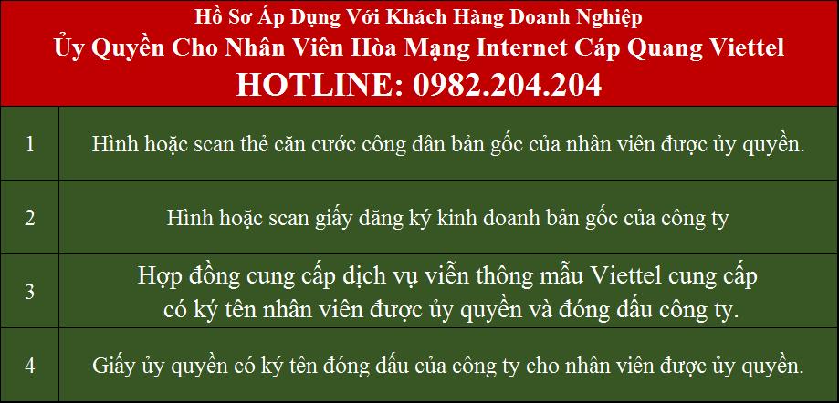 Lắp mạng Viettel Phú Xuyên Hà Nội Hồ sơ áp dụng với doanh nghiệp ủy quyền