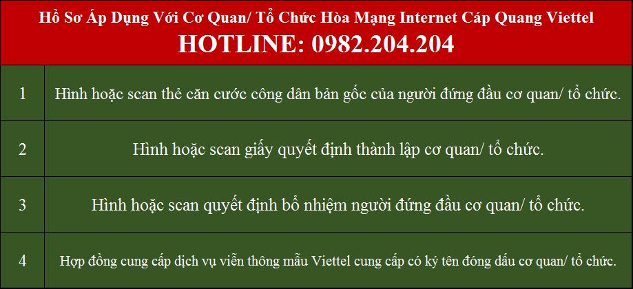 Lắp mạng Viettel Thanh Oai Hồ sơ áp dụng với cơ quan