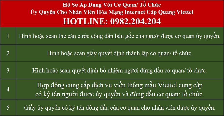Lắp mạng Viettel Thường Tín Hà Nội Hồ sơ áp dụng với cơ quan tổ chức ủy quyền