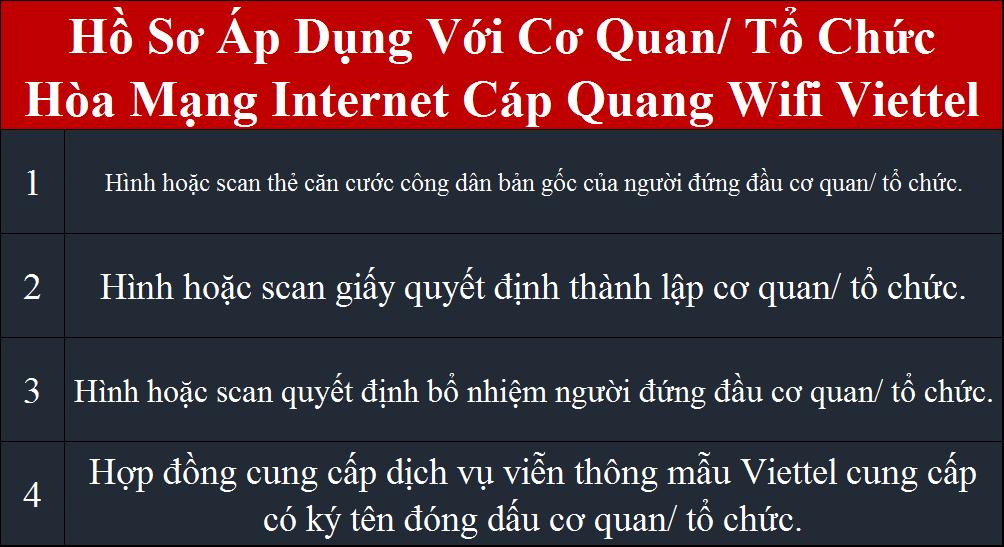 Tổng đài lắp internet Viettel hồ sơ áp dụng cho cơ quan tổ chức