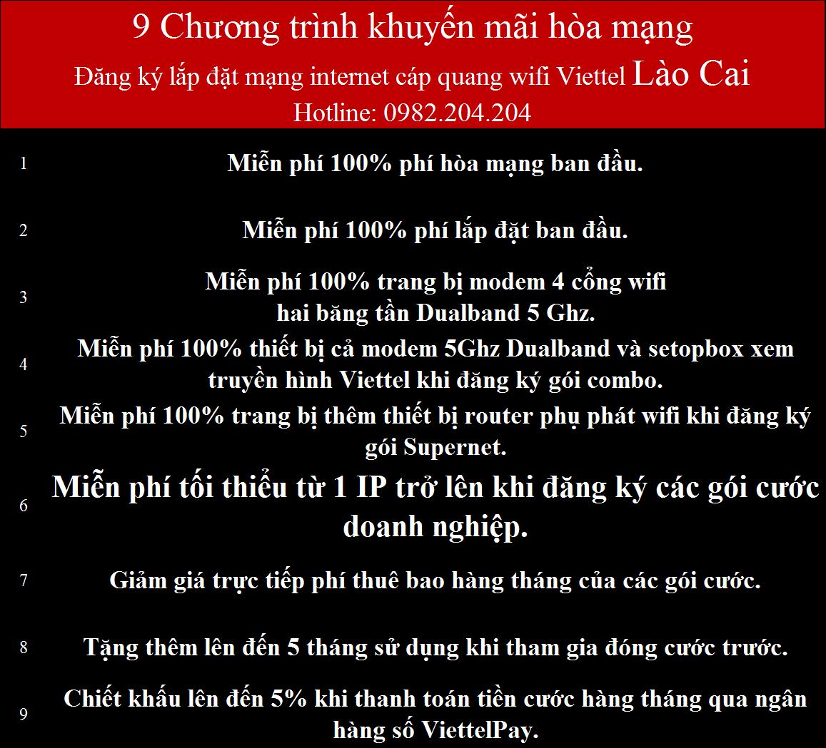 Đăng ký quang Viettel Lào Cai