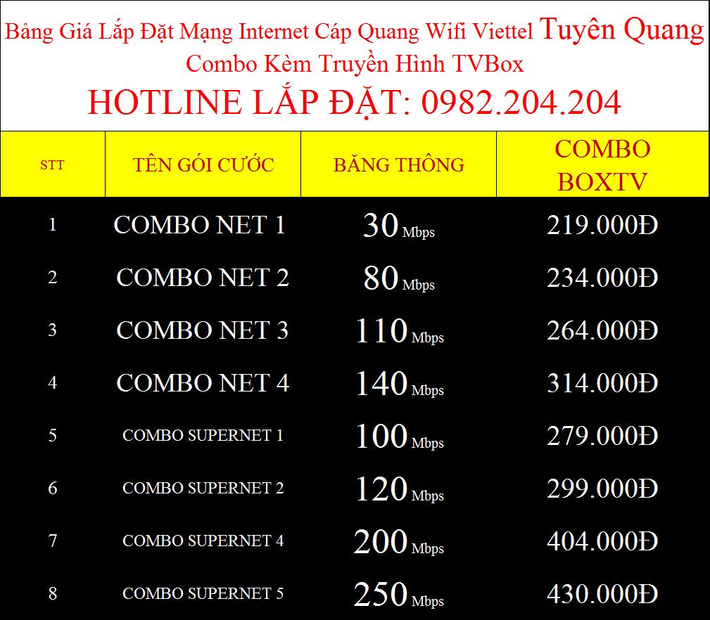 Đăng ký wifi Viettel Tuyên Quang