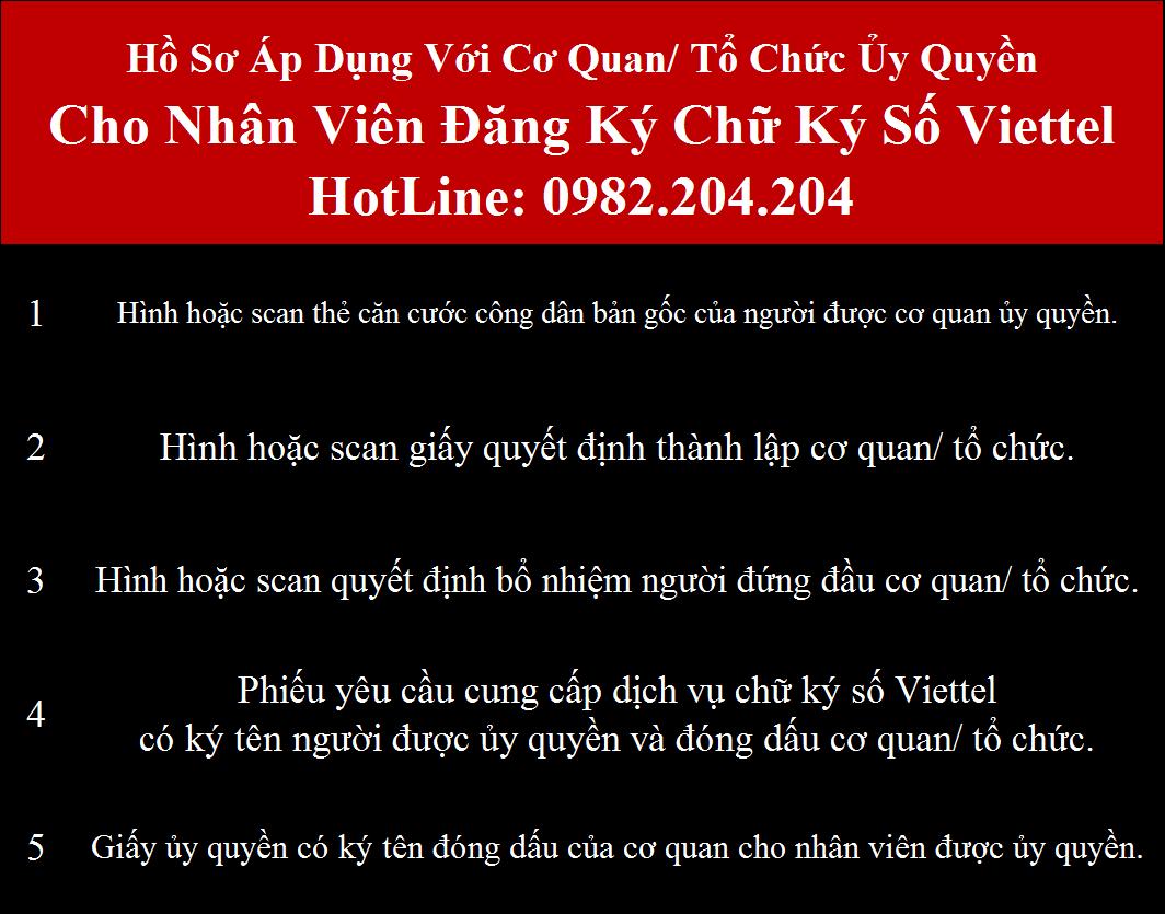 Hồ sơ đăng ký chữ ký số Viettel tại Vĩnh Phúc cơ quan ủy quyền