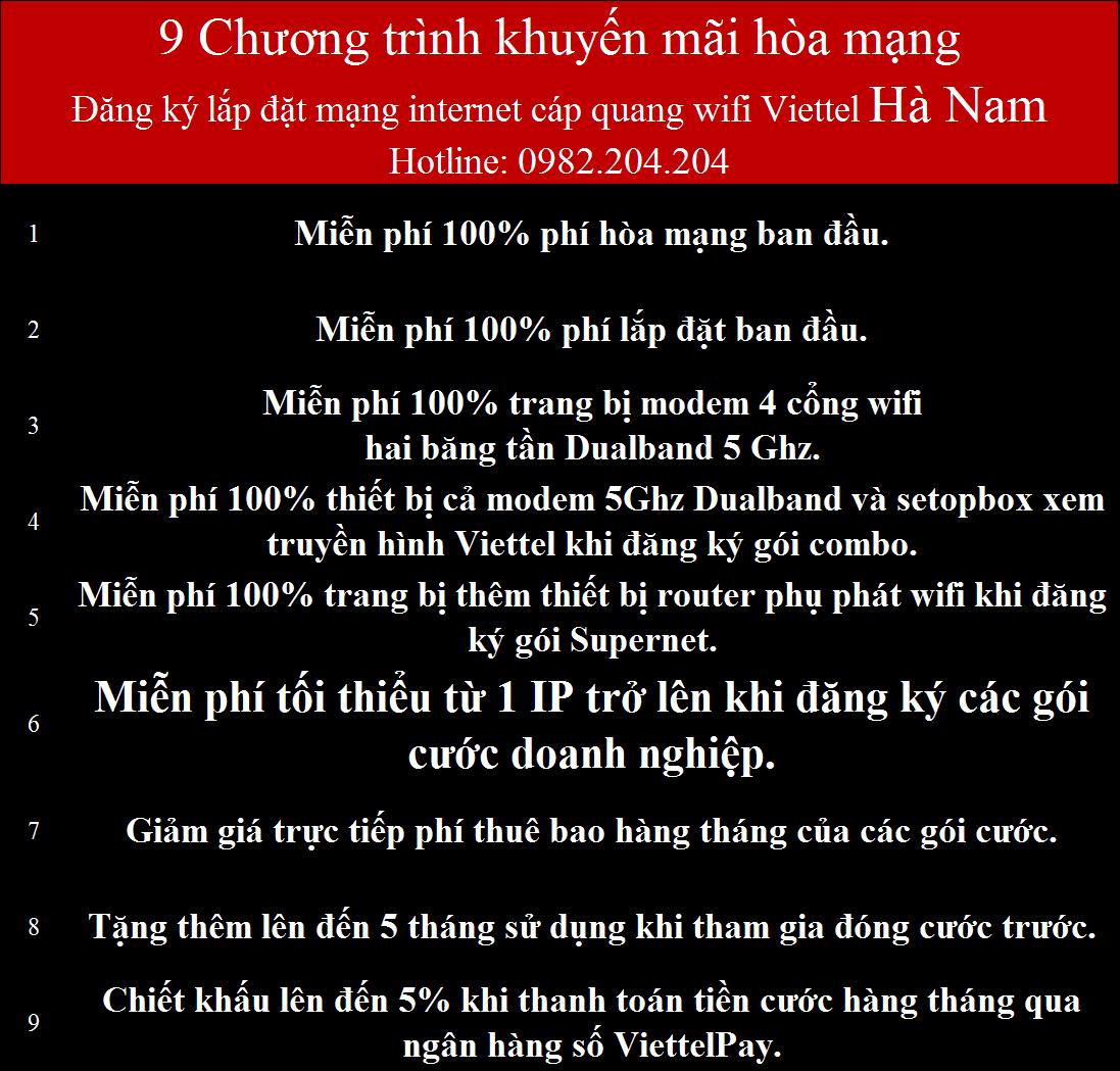 Khuyến Mãi Lắp Mạng Internet FTTH Cáp Quang Wifi Viettel Hà Nam 2021