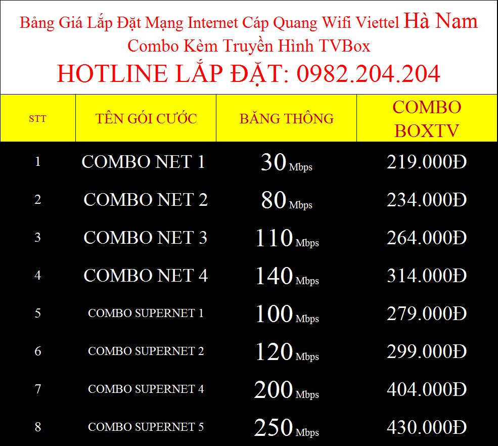 Lắp internet Viettel Hà Nam