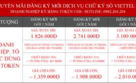 Bảng Giá Chữ Ký Số Viettel 2022 Giá Rẻ Nhất