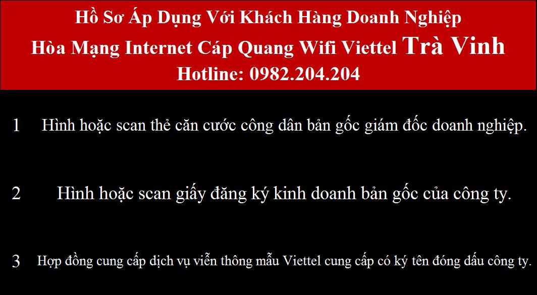 Bảng giá các gói cước mạng internet cáp quang wifi Viettel tại Trà Vinh