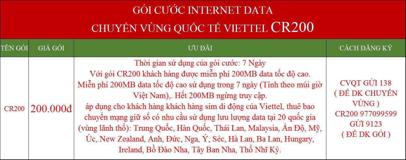 Gói data internet Viettel chuyển vùng quốc tế CR200