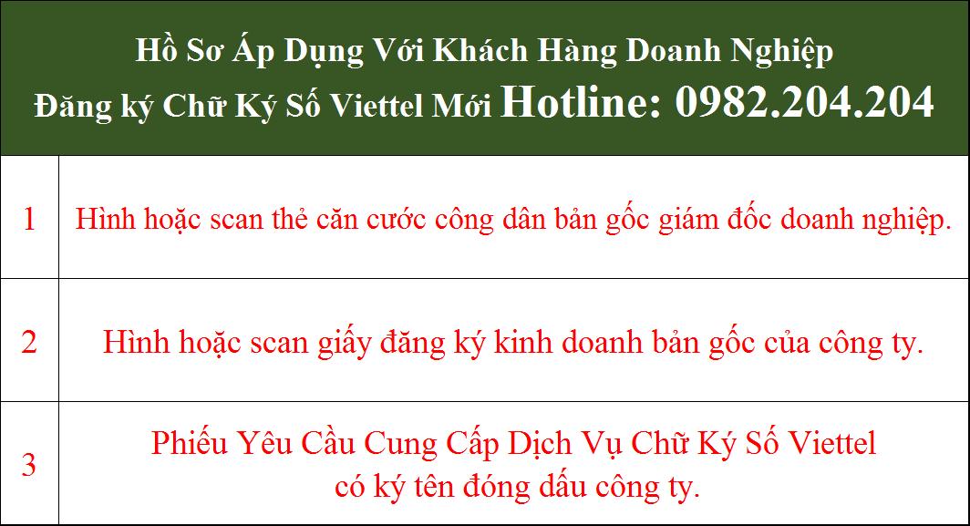 Hồ sơ đăng ký chữ ký số Viettel tại Tuyên Quang doanh nghiệp