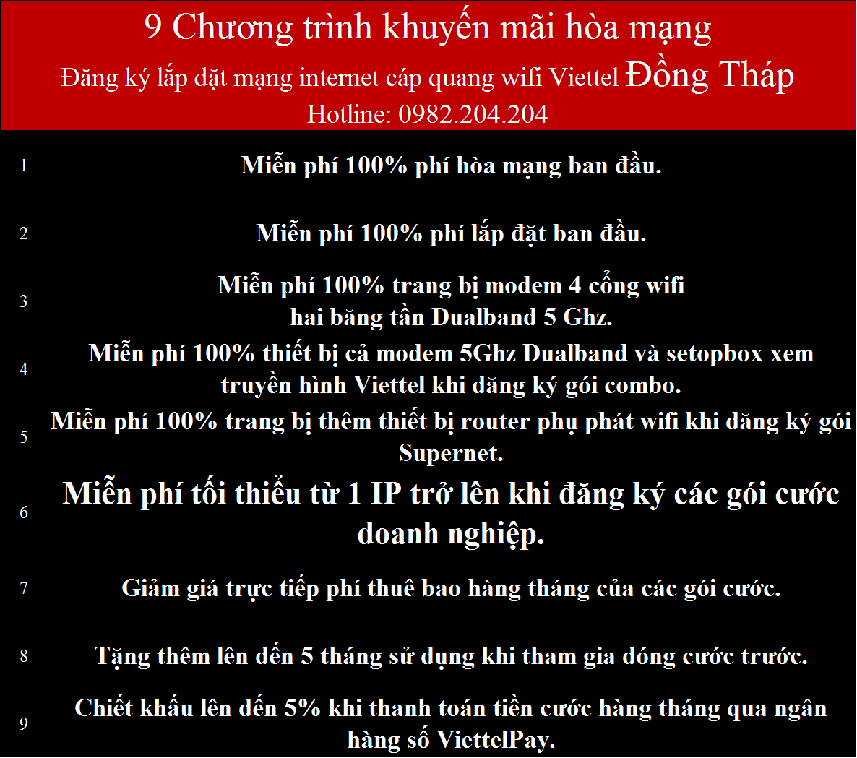 Lắp internet Viettel Đồng Tháp