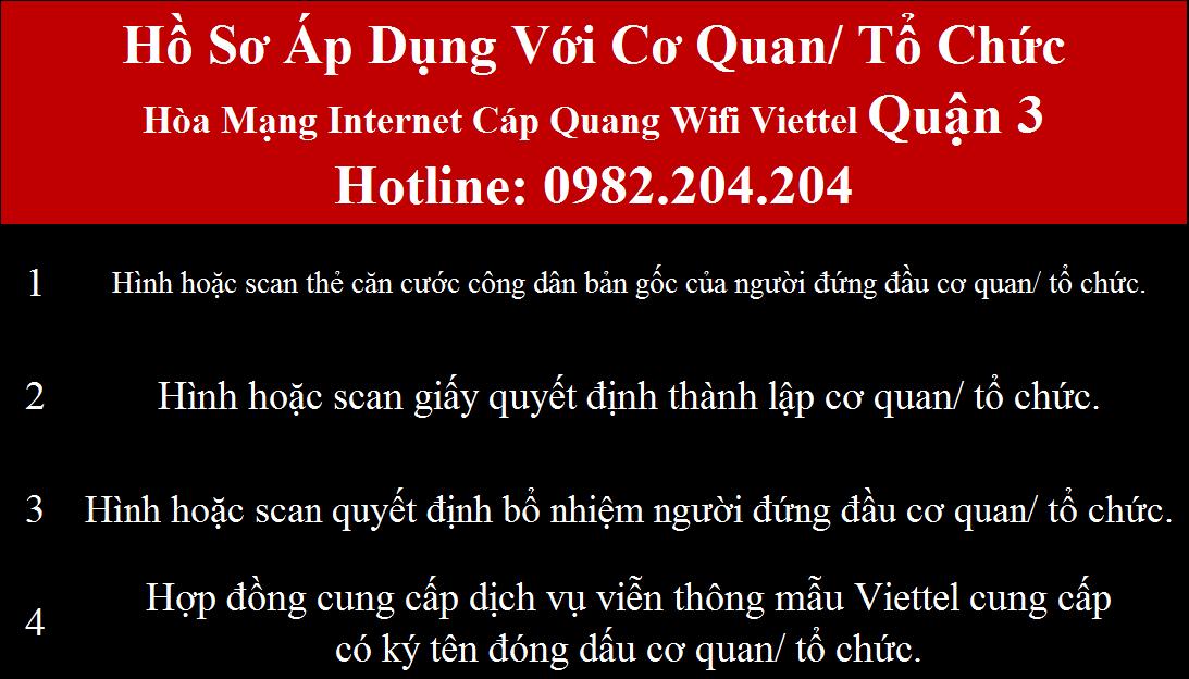 Lắp internet Viettel Quận 3