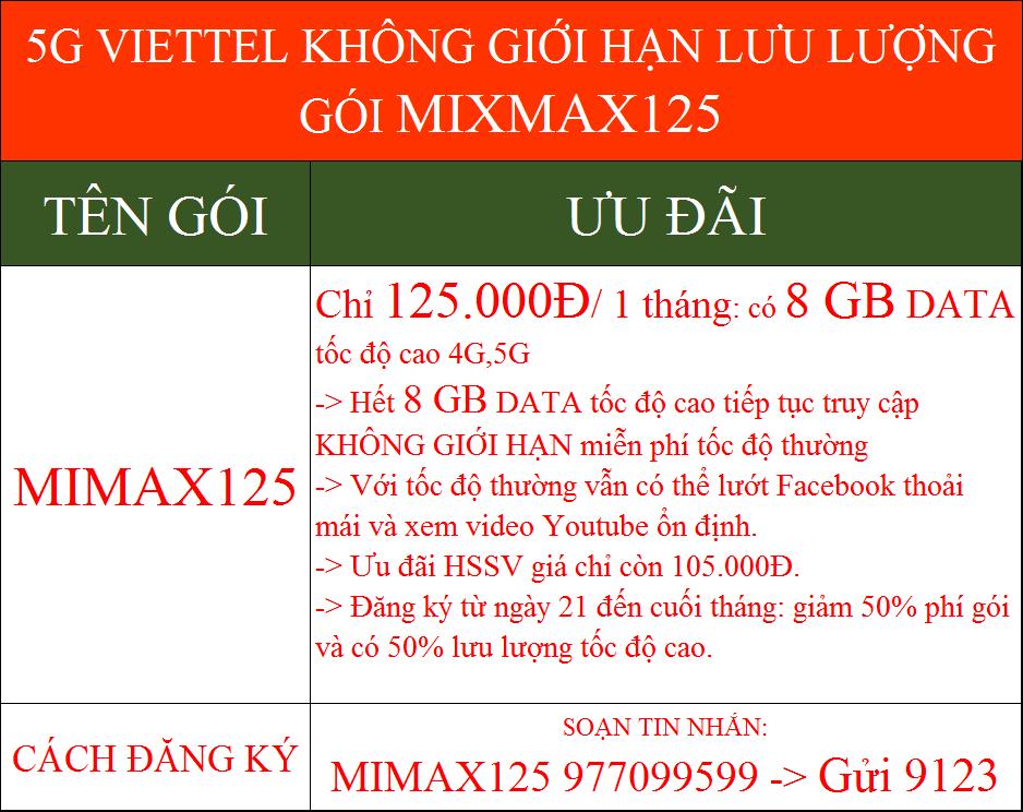 5G Viettel không giới hạn dung lượng gói MIMAX125