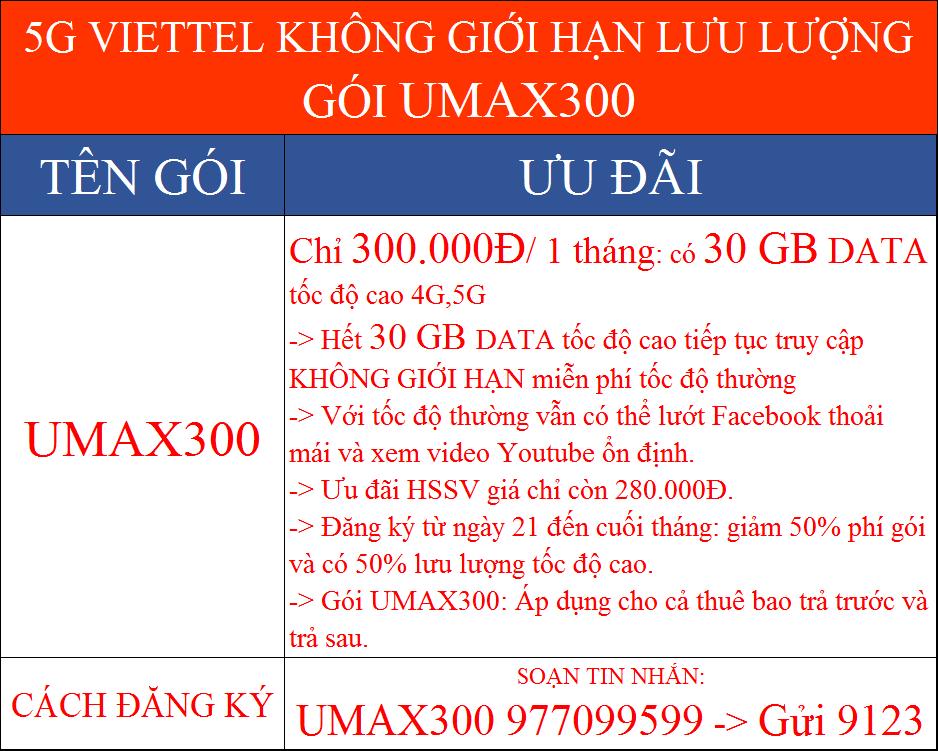 5G Viettel không giới hạn lưu lượng gói UMAX300