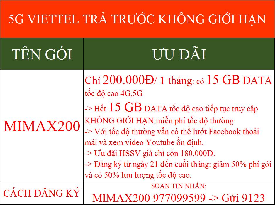 5G Viettel trả trước không giới hạn
