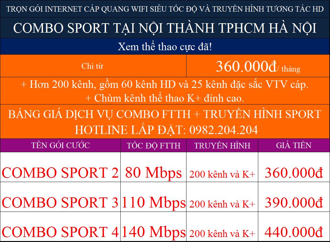 Các gói cước combo internet truyền hình K+ Viettel tại nội thành TPHCM Hà Nội