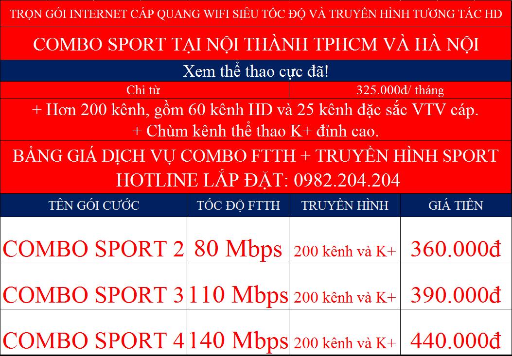 Các gói cước combo mạng cáp quang và truyền hình K+ Viettel tại nội thành Hà Nội và HCM