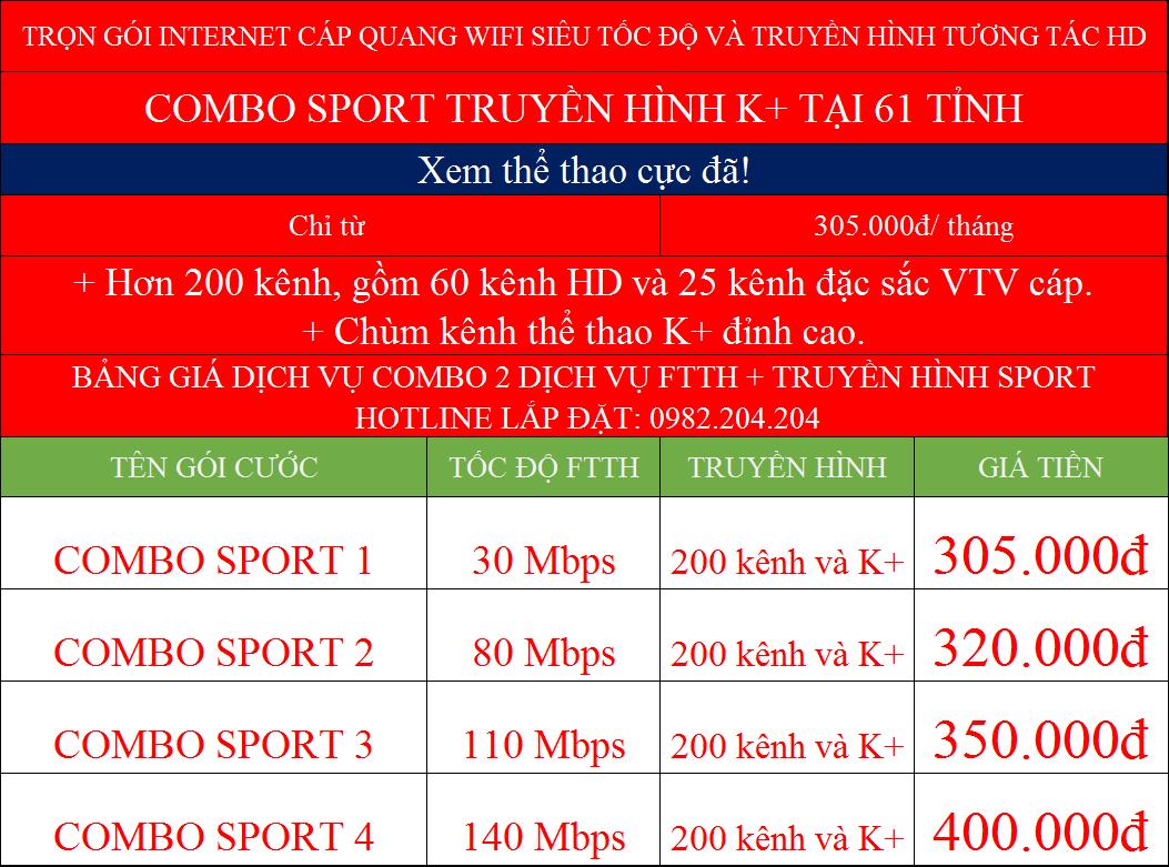 Các gói cước combo mạng internet và truyền hình K+ Viettel tại 61 tỉnh