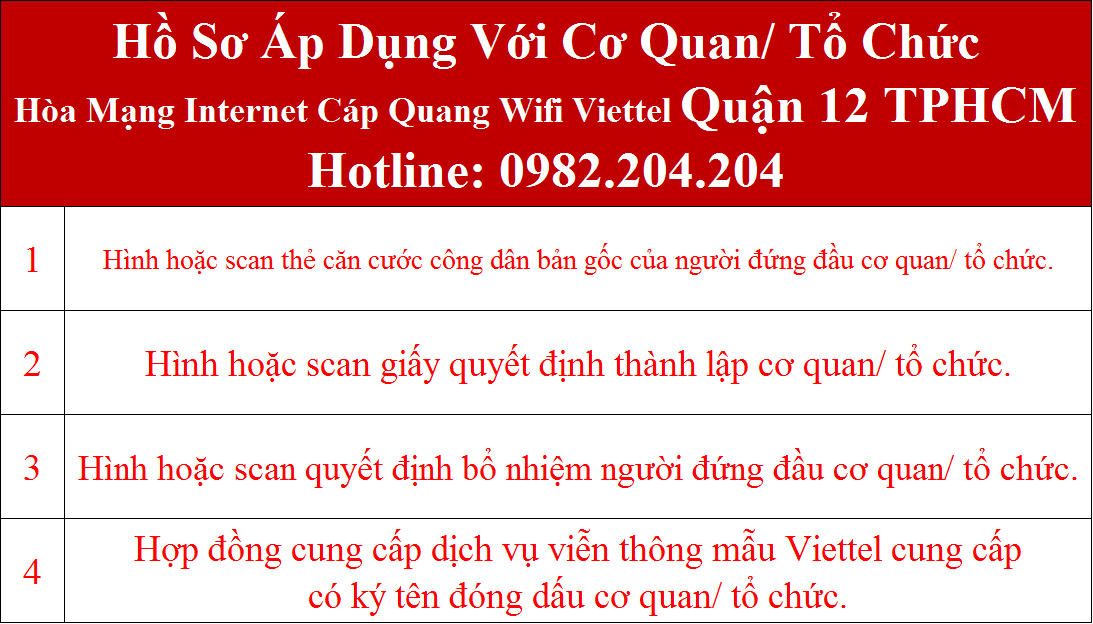 Đăng ký internet Viettel Quận 12 TPHCM