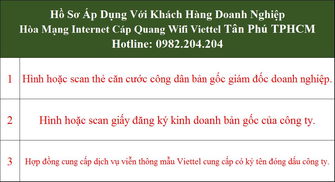 Đăng ký lắp internet Viettel Tân Phú TPHCM