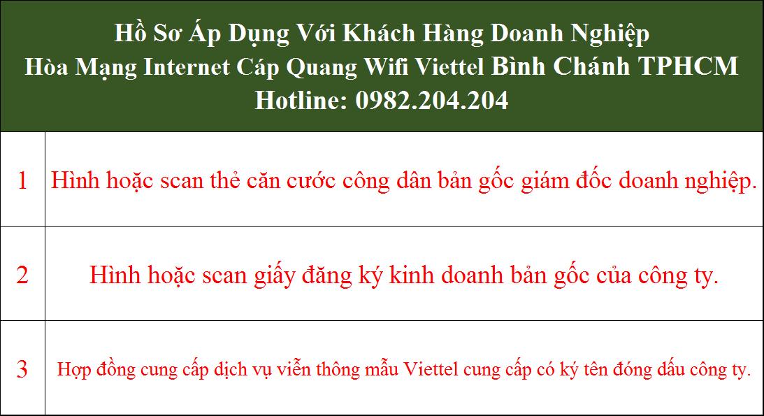Đăng ký mạng Viettel Bình Chánh TPHCM