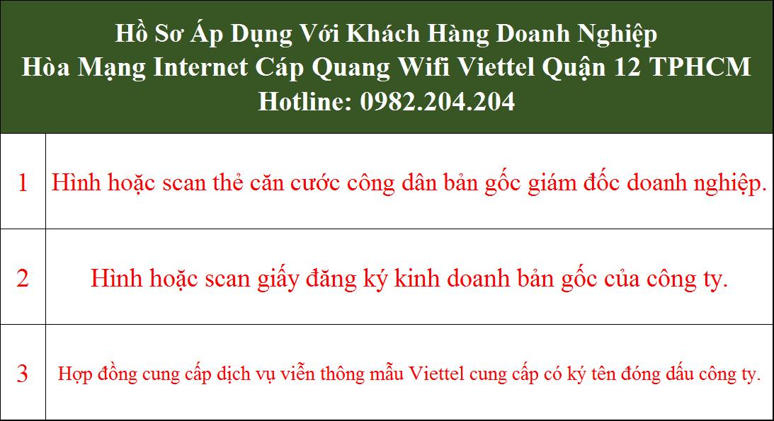 Đăng ký mạng Viettel Quận 12 TPHCM