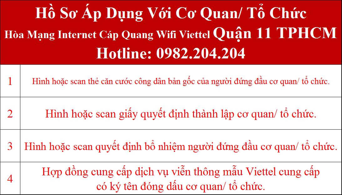 Đăng ký wifi Viettel Quận 11 TPHCM