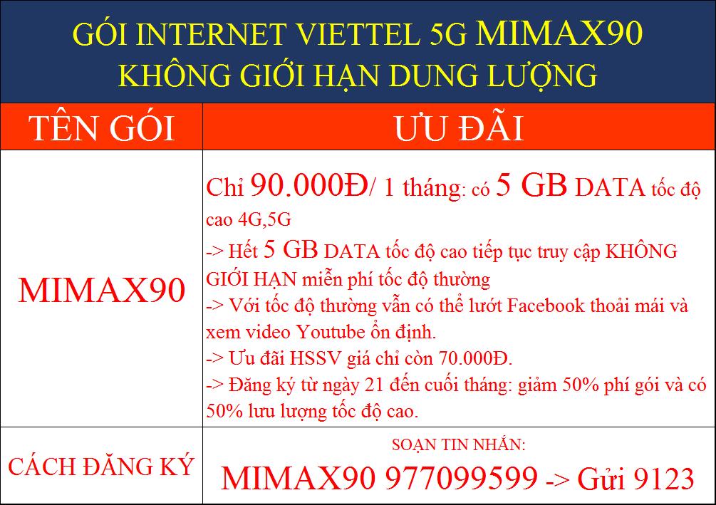 GÓI INTERNET VIETTEL 5G MIMAX90