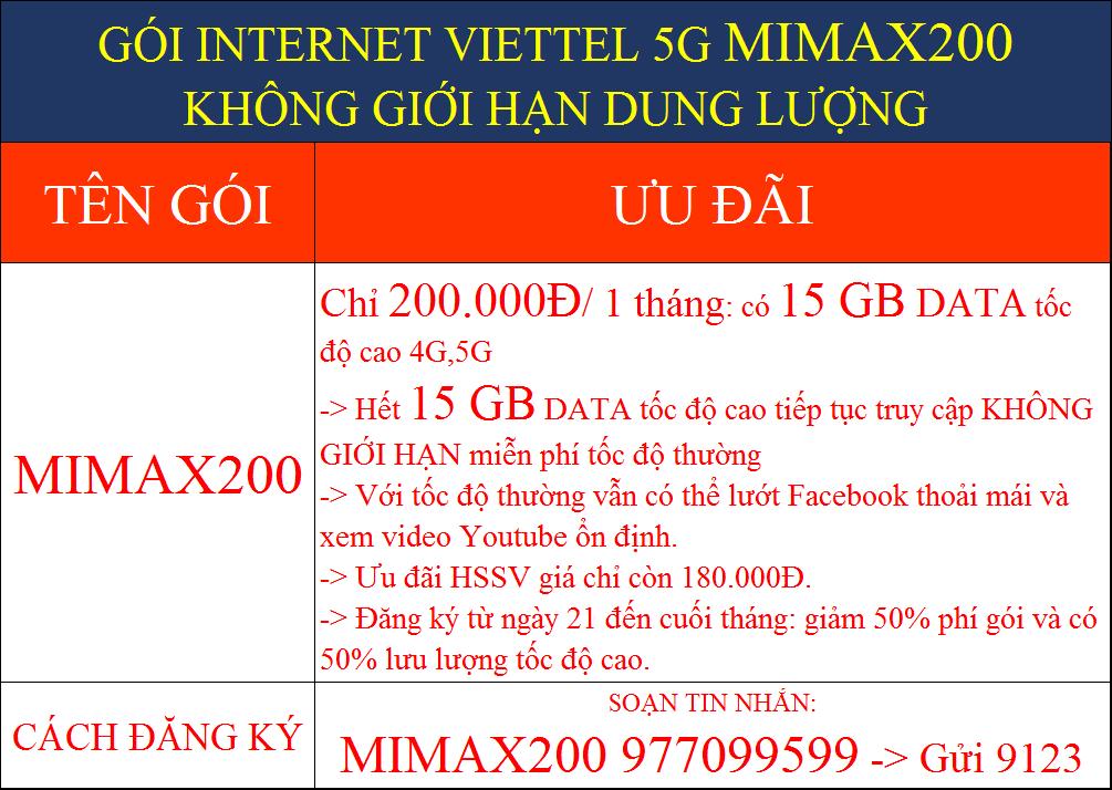 GÓI MẠNG INTERNET VIETTEL 5G MIMAX200