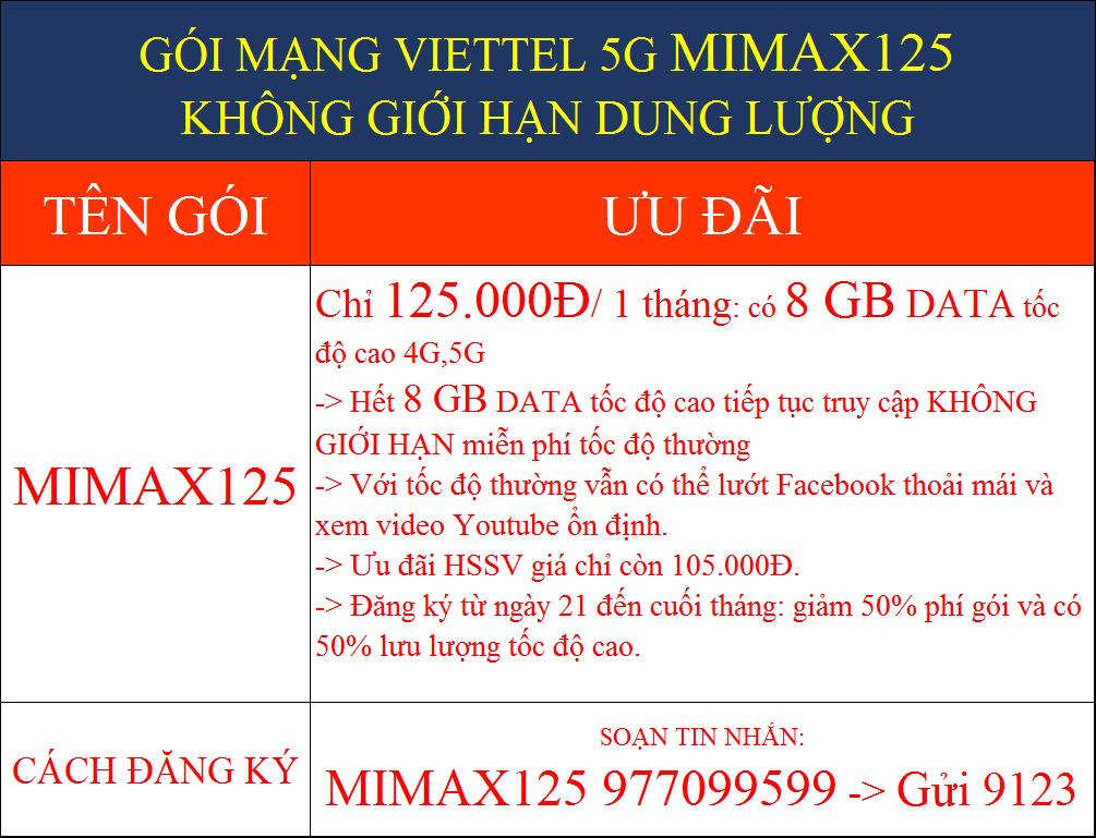 GÓI MẠNG VIETTEL 5G MIMAX125