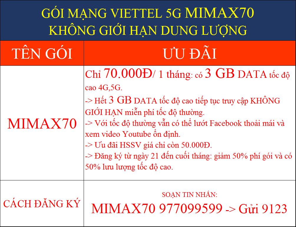 GÓI MẠNG VIETTEL 5G MIMAX70