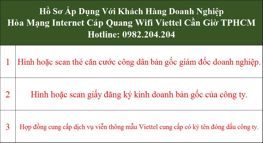 Hồ sơ Lắp cáp quang Viettel Cần Giờ TPHCM