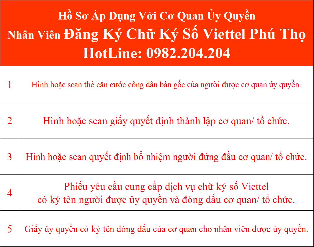 Hồ sơ chữ ký số Viettel Phú Thọ Cơ Quan Ủy Quyền