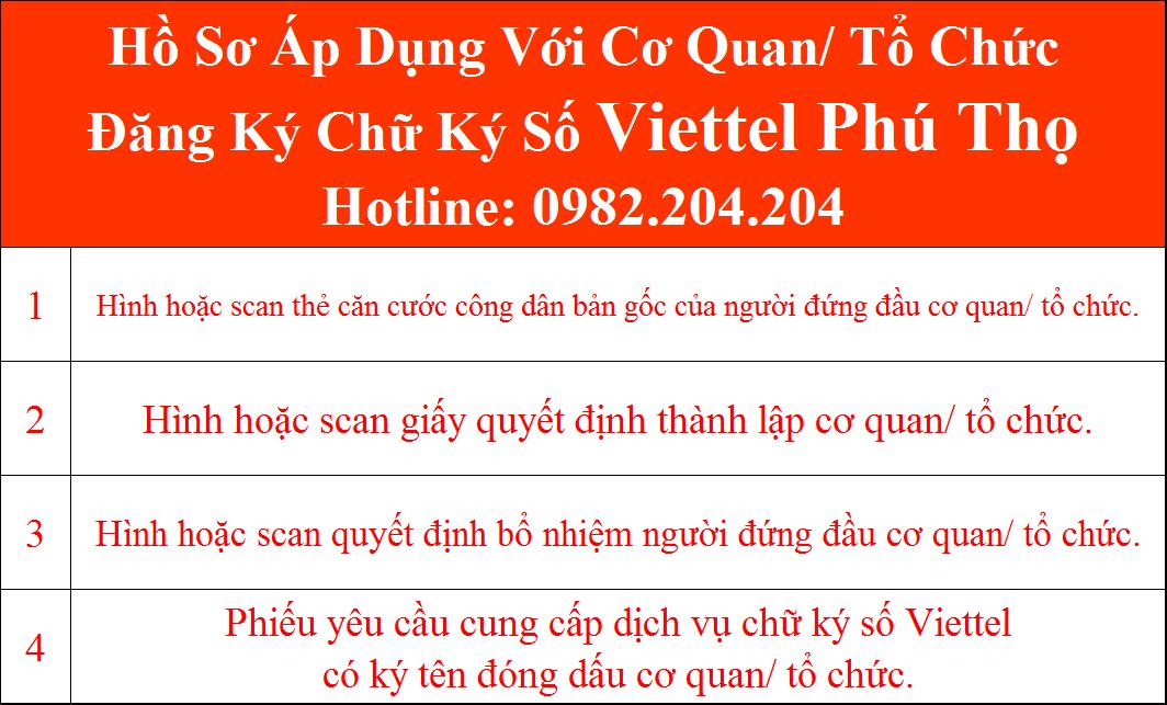 Hồ sơ chữ ký số Viettel Phú Thọ Cơ Quan