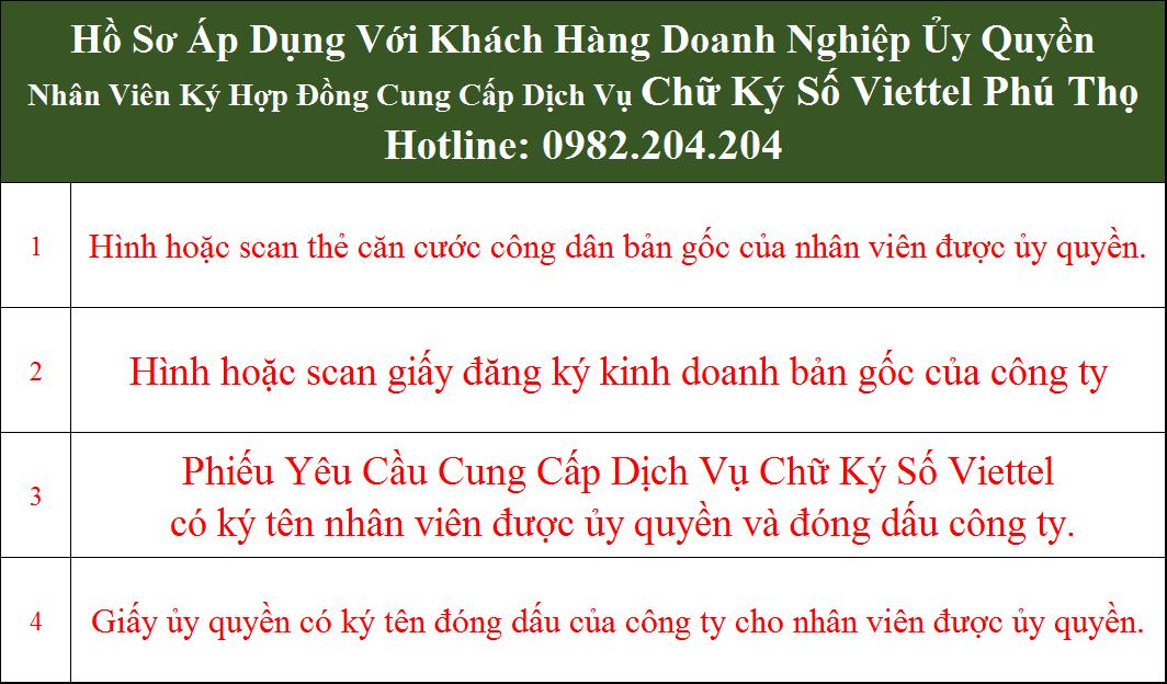 Hồ sơ chữ ký số Viettel Phú Thọ Doanh Nghiệp ủy quyền