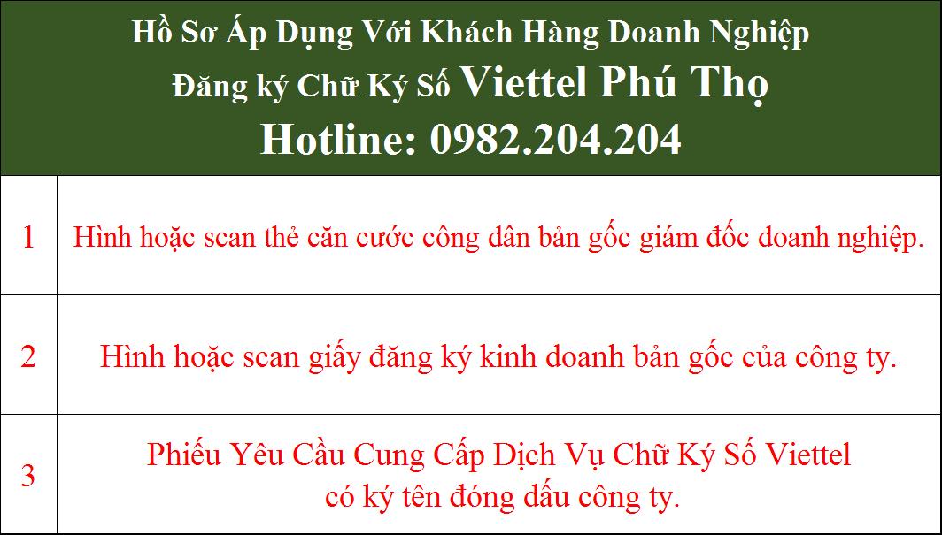 Hồ sơ chữ ký số Viettel Phú Thọ Doanh Nghiệp