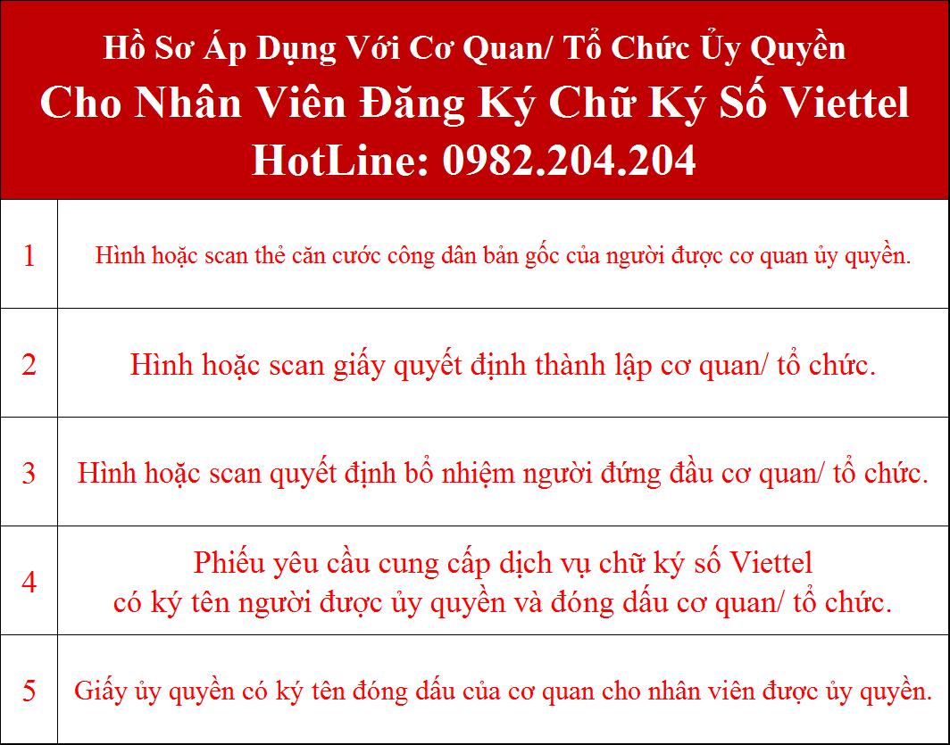 Hồ sơ đăng ký chữ ký số Viettel tại Thái Nguyên cơ quan ủy quyền