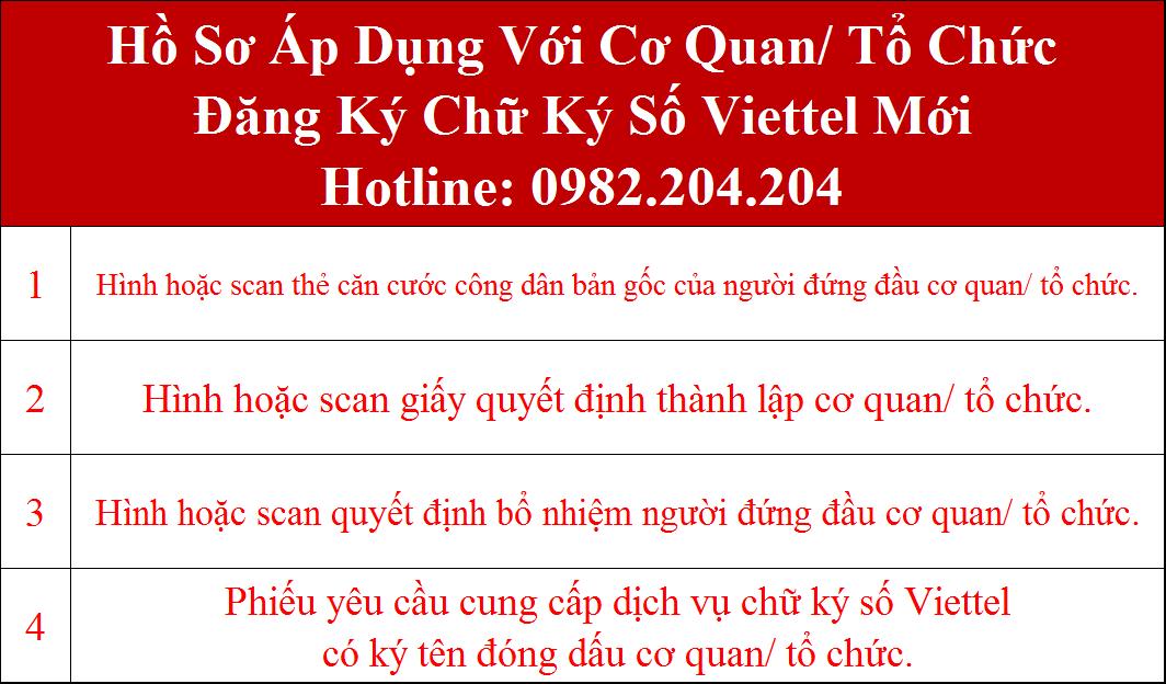 Hồ sơ đăng ký chữ ký số Viettel tại Thái Nguyên cơ quan