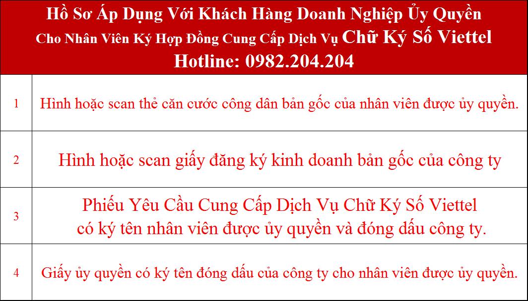 Hồ sơ đăng ký chữ ký số Viettel tại Thái Nguyên doanh nghiệp ủy quyền