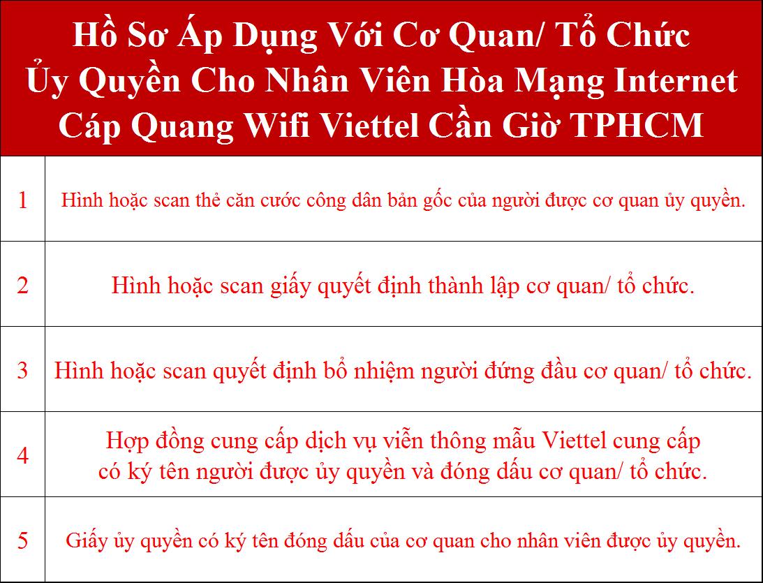 Hồ sơ đăng ký internet Viettel Cần Giờ TPHCM cơ quan ủy quyền