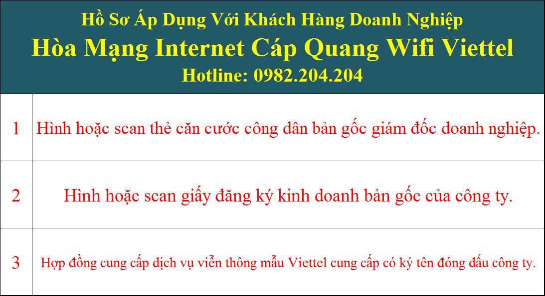 Hồ sơ đăng ký wifi Viettel doanh nghiệp