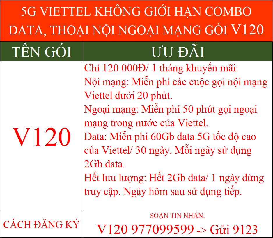 Khuyến mãi 5G Viettel không giới hạn gói combo v120