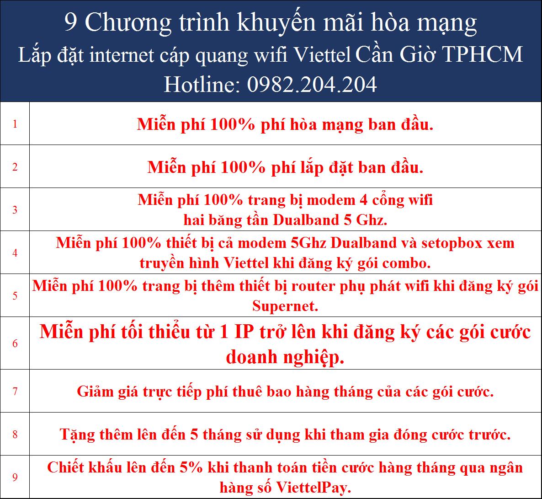Khuyến mãi internet Viettel Cần Giờ TPHCM