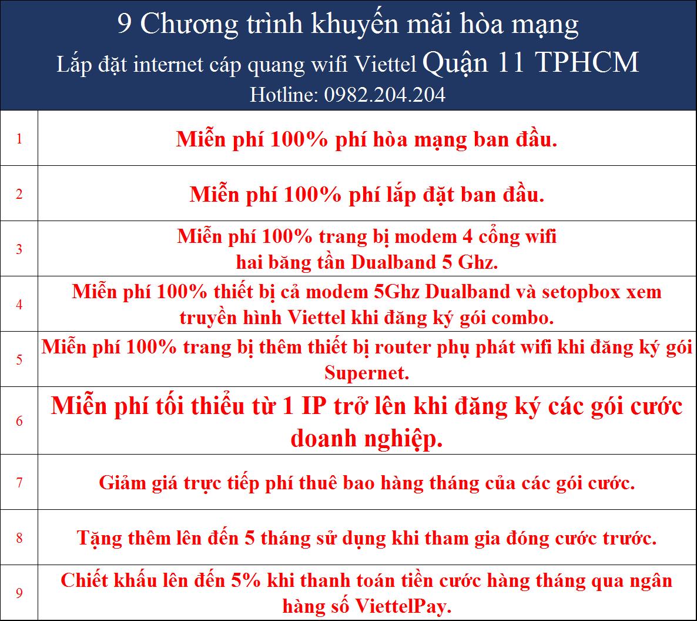 Khuyến mãi internet Viettel TPHCM Quận 11