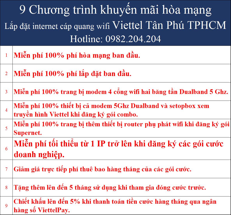 Khuyến mãi internet wifi Viettel Tân Phú TPHCM
