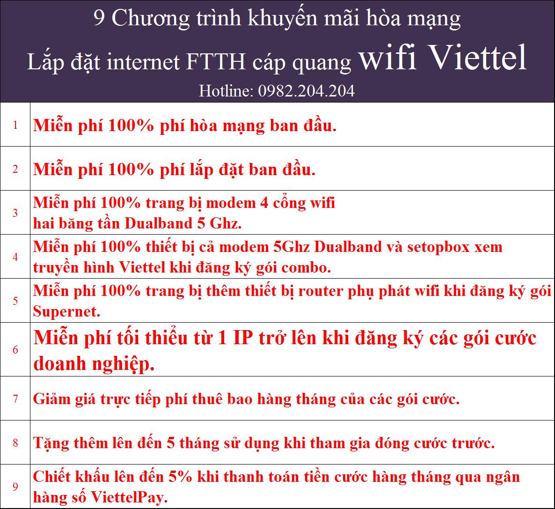 Khuyến mãi lắp mạng internet wifi Viettel