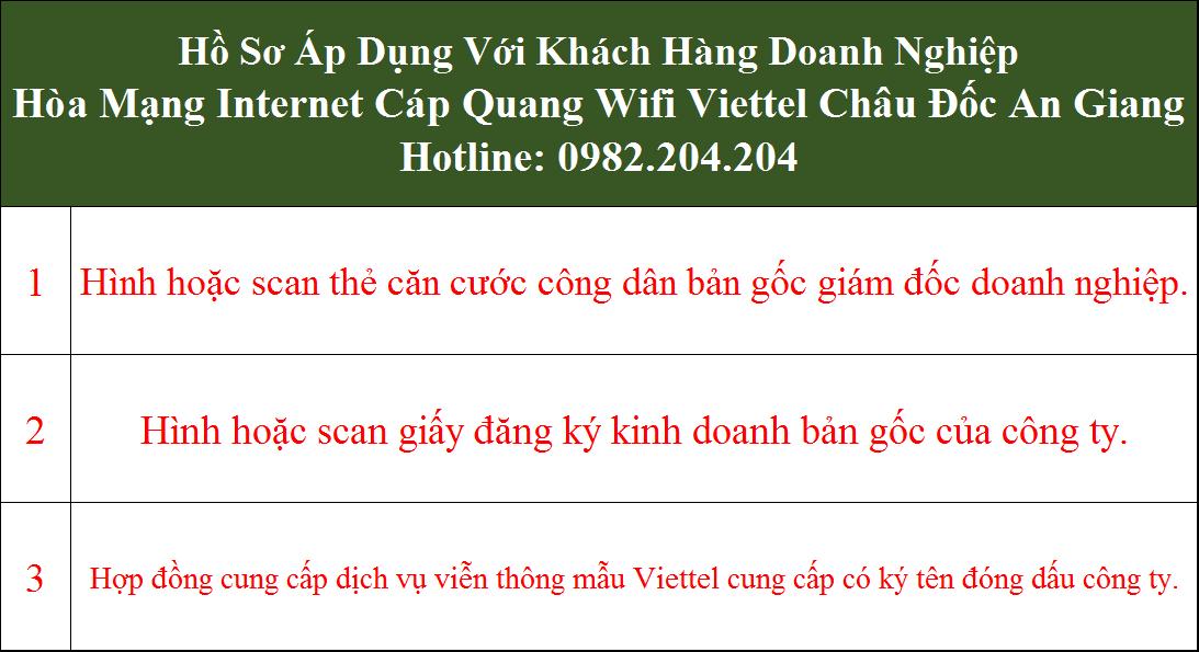 Lắp cáp quang Viettel Châu Đốc An giang