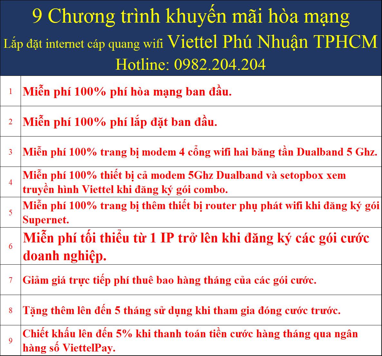 9 khuyến mãi lắp mạng wifi Viettel tại Phú Nhuận TPHCM