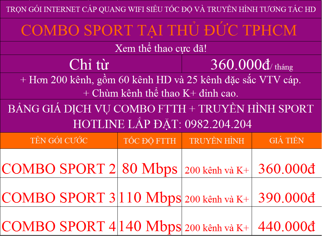 Các gói combo internet truyền hình K+ Viettel tại Thủ Đức